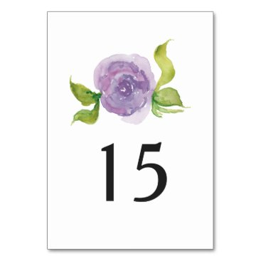 Purple watercolor floral wedding table number