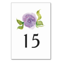 Purple watercolor floral wedding table number card