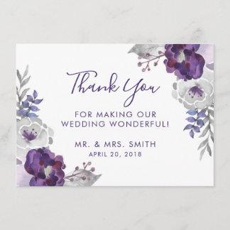 Purple Watercolor Floral Wedding Thank You