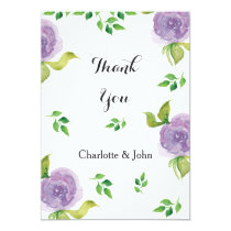 Purple watercolor floral wedding Thank You Card