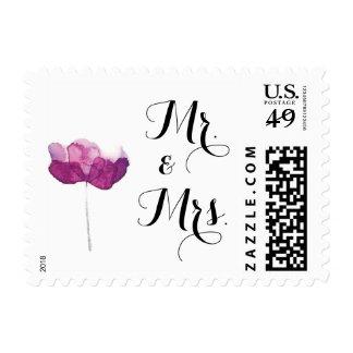 Purple Watercolor Flower Design Wedding Stamp