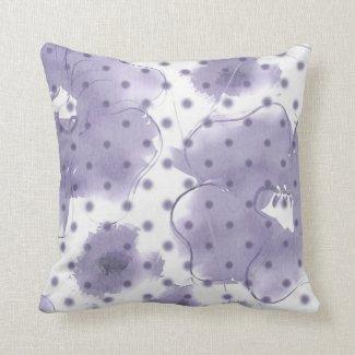 Purple Watercolor Flower Polka Dot Pillow