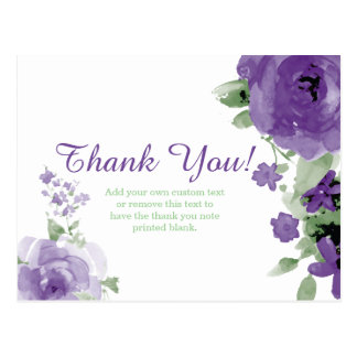 Purple, Watercolor, Flower Thank You Cards