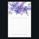 """Purple Watercolor Flowers Advice Cards<br><div class=""""desc"""">Use the template form to add your personalization. We suggest printing on &quot;value paper&quot; due to the ease of writing on the matte surface. Tie a pretty ribbon around the cards at the end of the event for a nice keepsake for the bride-to-be.</div>"""