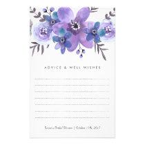 Purple Watercolor Flowers Advice Cards