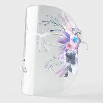purple watercolor flowers face shield