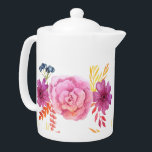 "Purple Watercolor Flowers Floral Illustration Teapot<br><div class=""desc"">Teapots,  White,  Purple,  Red,  Yellow,  Watercolor,  Flowers,  Botanical,  floral,  white,  affordable,  zazzle,  spring,  illustration,  nature pattern,  Home decor,  Interior design,  kitchen decor, </div>"