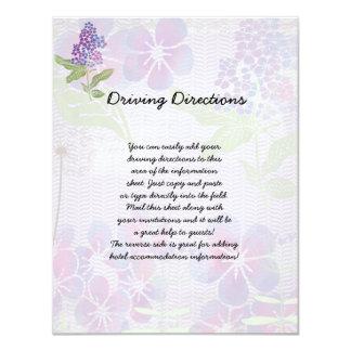 Purple Watercolor Flowers Informational Sheet Card