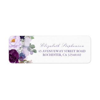 Purple Watercolor Flowers Label