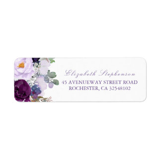 Purple Watercolor Flowers Label