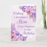 "Purple Watercolor Flowers Mom Birthday Card<br><div class=""desc"">Birthday card for mom with purple watercolor flowers and thoughtful verse.</div>"
