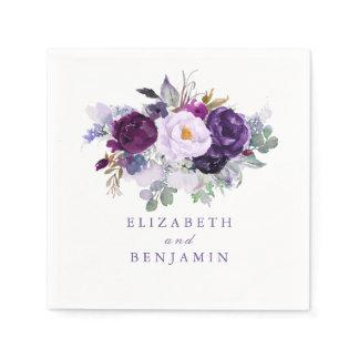 Purple Watercolor Flowers Paper Napkin