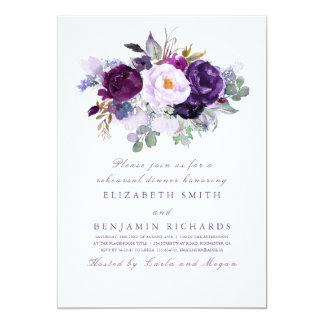 Purple Watercolor Flowers Rehearsal Dinner Invitation