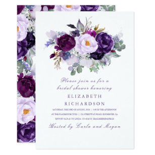 purple watercolor flowers romantic bridal shower invitation