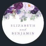 """Purple Watercolor Flowers Romantic Classic Round Sticker<br><div class=""""desc"""">Floral purple seals</div>"""