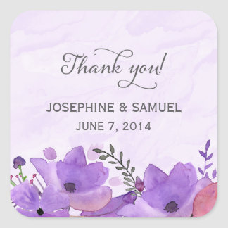 Purple Watercolor Flowers Thank You Stickers