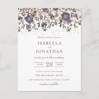 Purple Watercolor Flowers Wedding Invitation