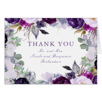 Purple Watercolor Flowers Wedding Thank You