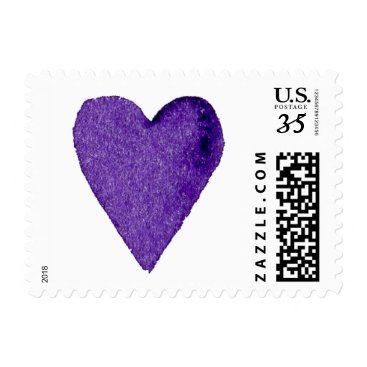 Valentines Themed Purple Watercolor Heart Postage