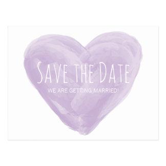 Purple Watercolor Heart Save the Date Postcard