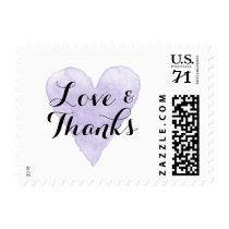 Purple watercolor heart wedding thank you stamps