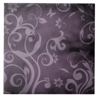 Purple Watercolor Ink Floral Tile