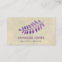 Purple Watercolor leaves on vintage paper Business Card