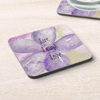 Purple Watercolor Live Flower Drink Coasters