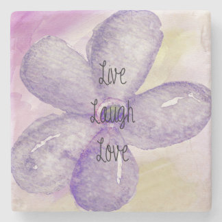 Purple Watercolor Live Flower Stone Beverage Coaster