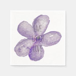 Purple Watercolor Live Flower Napkin