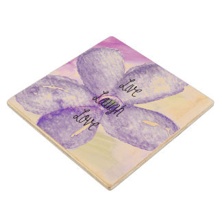Purple Watercolor Live Flower Wooden Coaster