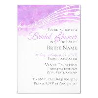 Purple Watercolor Musical Bridal Shower Invitation
