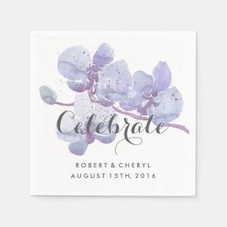Purple Watercolor Orchid Celebrate Wedding Napkins