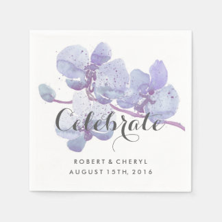 Purple Watercolor Orchid Celebrate Wedding Napkins Standard Cocktail Napkin