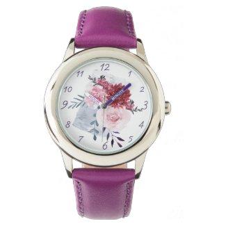 Purple Watercolor Peonies Art Watch