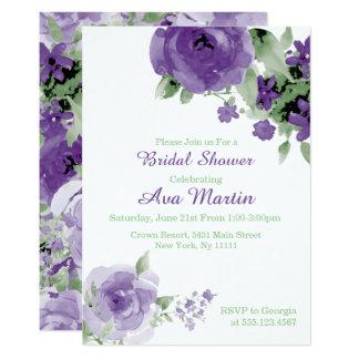 Purple Watercolor Rose, Bridal Shower Invitations