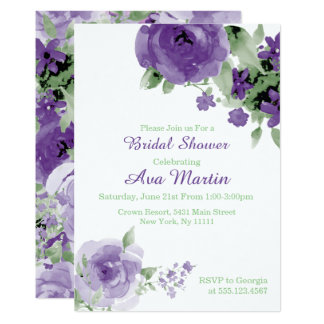 purple watercolor rose bridal shower invitations