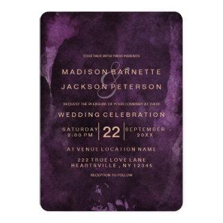 Purple Watercolor Rose Gold Wedding Invitations