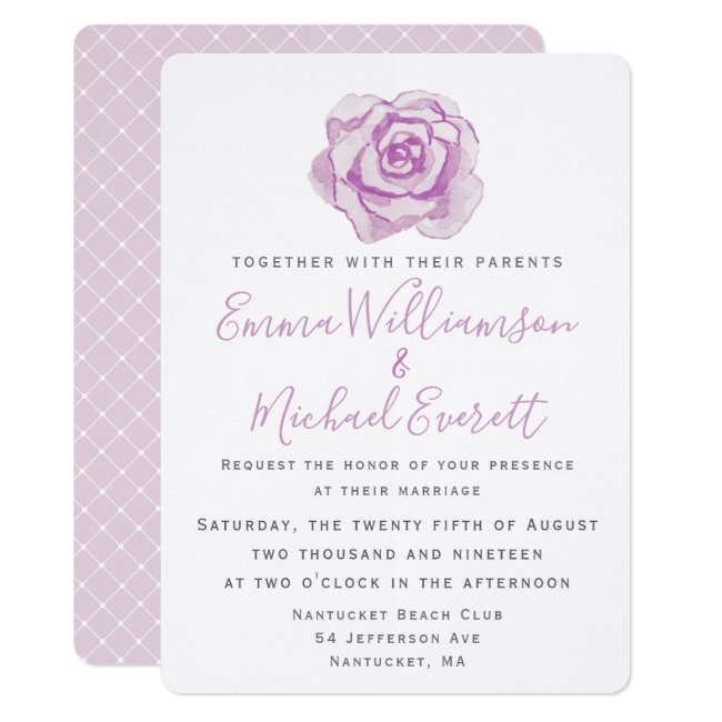 Purple Watercolor Rose   Wedding invitation