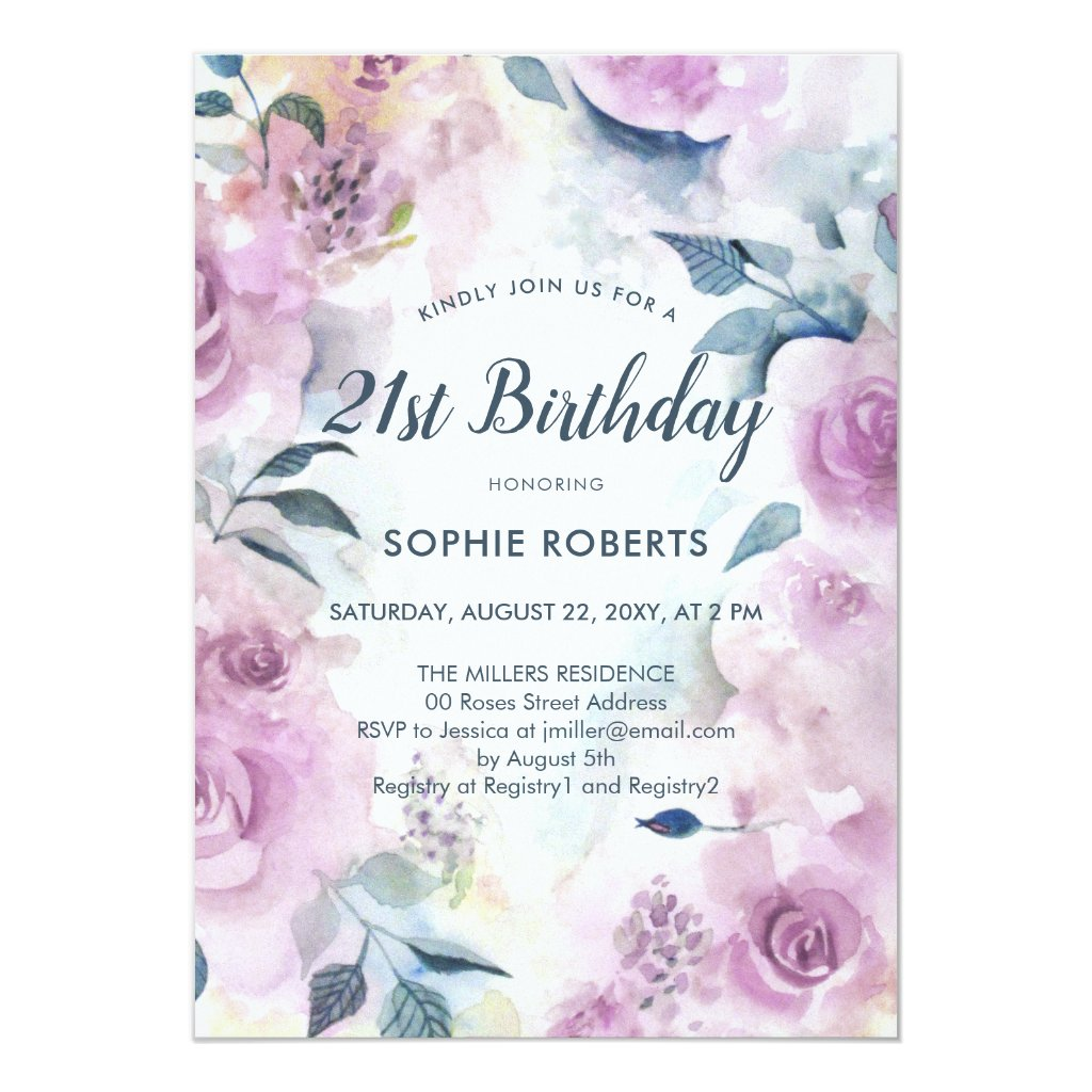 Purple Watercolor Roses Floral 21st Birthday Invitation