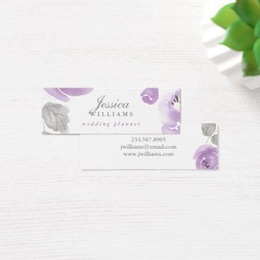 Professional Business Purple Watercolor Roses Floral Mini Business Card