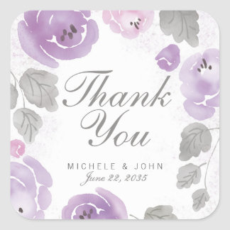 Purple Watercolor Roses Thank You Favor Stickers