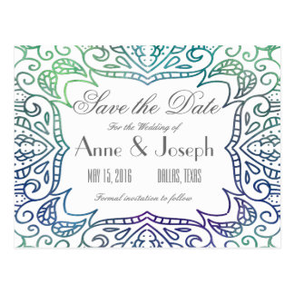 Purple watercolor Save the Date Postcard