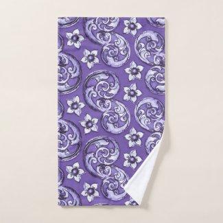 Purple Watercolor Scrolls and Flowers Hand Towel