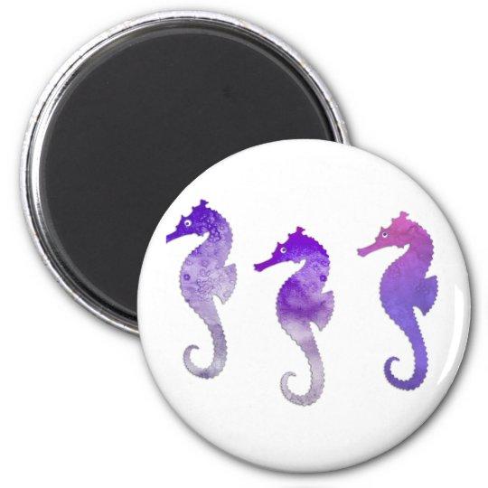 Purple Watercolor Seahorses Magnet
