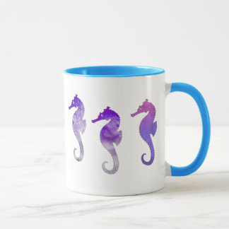 Purple Watercolor Seahorses Mug