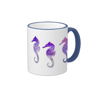 Purple Watercolor Seahorses Ringer Mug