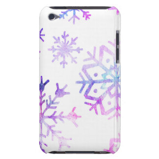 Purple Watercolor Snowflake Christmas Design Barely There iPod Cover