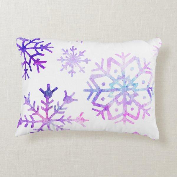 Purple Watercolor Snowflake Christmas Design Decorative Pillow