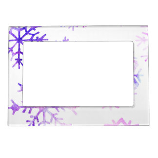 Purple Watercolor Snowflake Christmas Design Magnetic Frame
